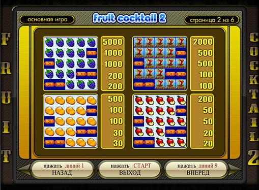 Semnele slotului Fruit Cocktail 2